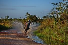 Motorcycle crossing water