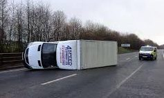 Van blown over